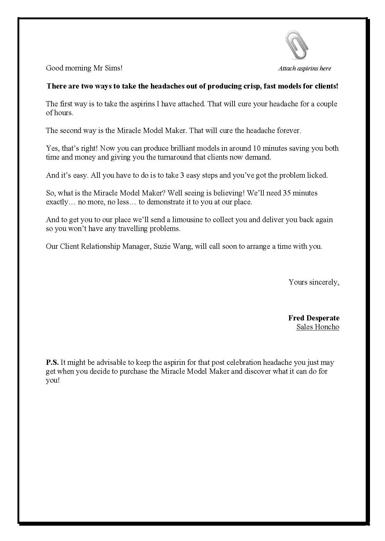 The Aspirin Letter Winston Marsh